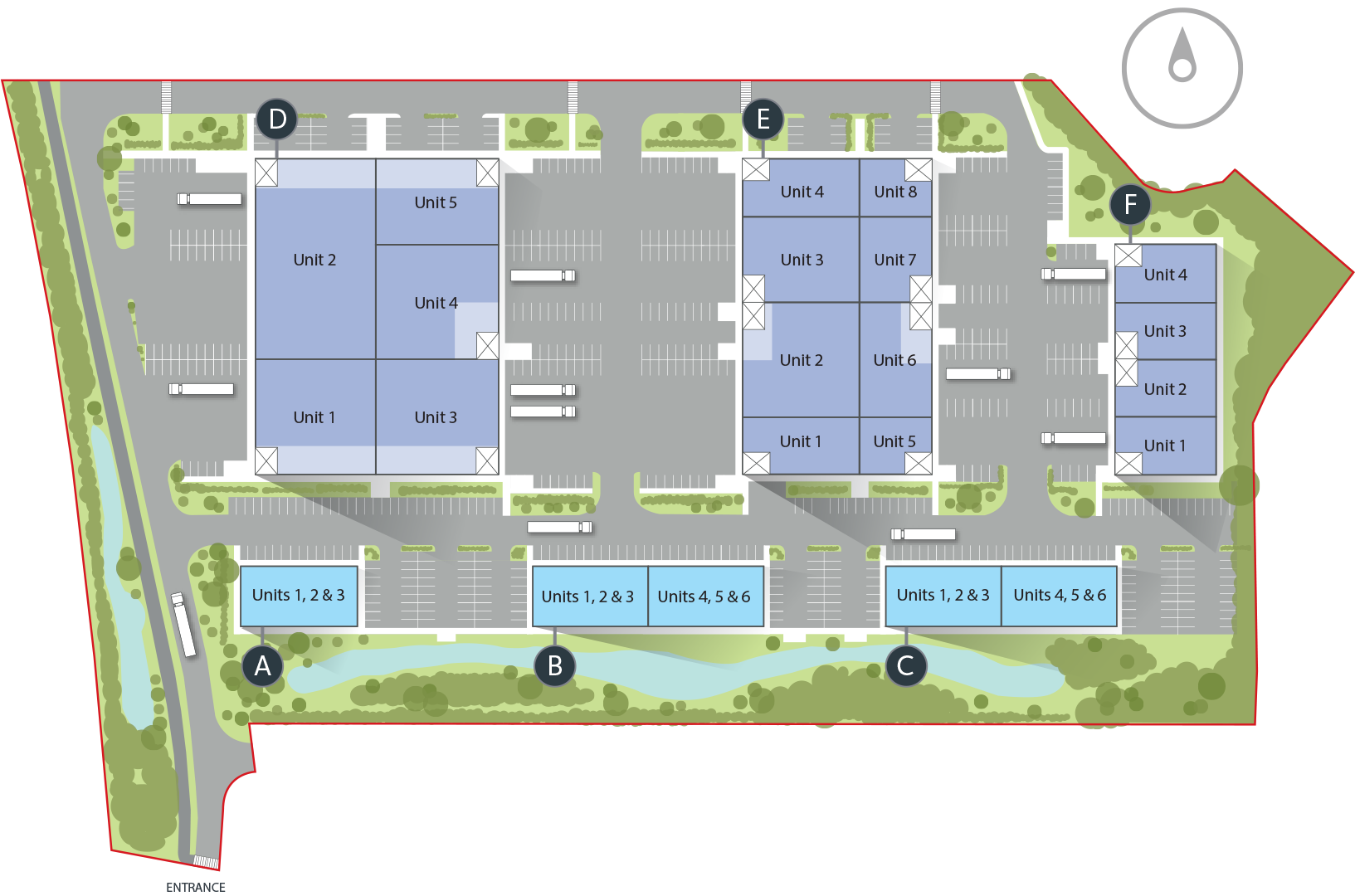 ADANAC North site plan showing Units
